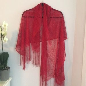 Accessories - Red lace scarf/wrap w/fringe detail
